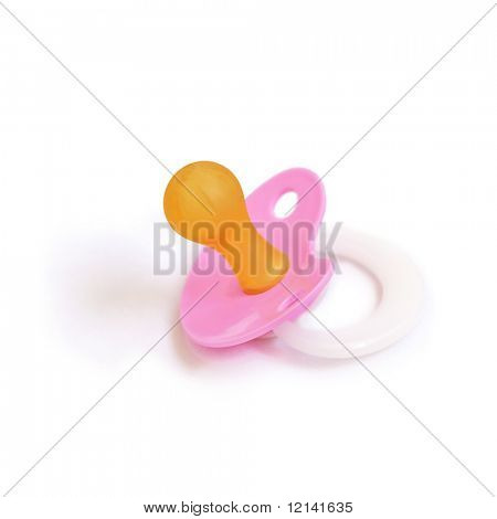 Pink baby dummy isolated on white