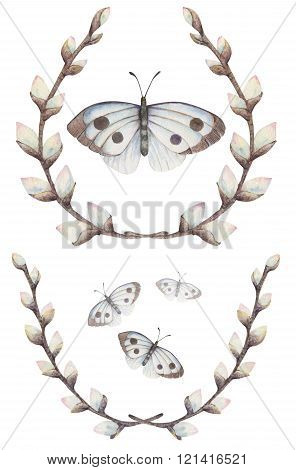The wreath of willow with the butterfly painting with watercolor.
