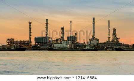 Petrochemical refinery waterfront during sunrise