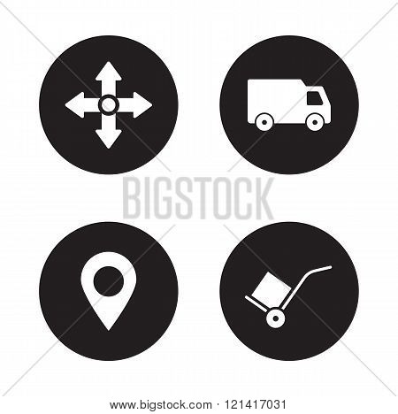 Delivery service black icons set