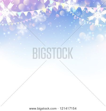Christmas  New Year design: light background with snowflakes and flag garlands. Vector illustration,