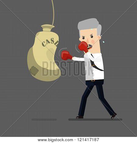 Businessman boxing, training. Business concept cartoon illustration