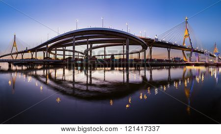 Panorama over Twin suspension bridge and water reflection during twilight, Bangkok Thailand