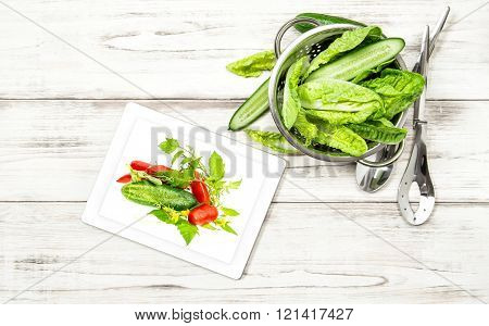 Green Salad Vegetables With Recipe Book Tablet Pc