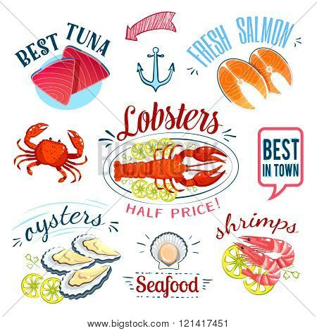 Set of colorful cartoon seafood labels: tuna, salmon, lobster, oysters and shrimps, isolated on whit
