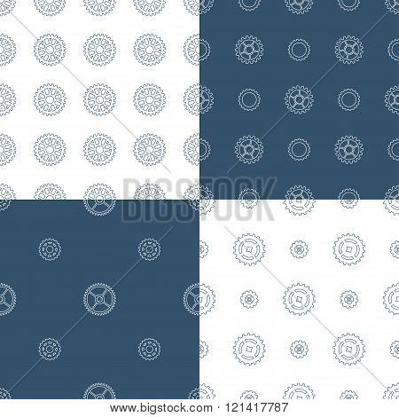 Vector Set Of Seamless Gear Patterns.