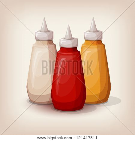 Set of delicious fast food sauces.