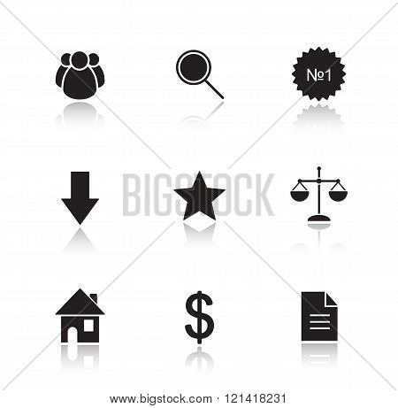 Marketing tools drop shadow icon set