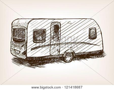 Travel trailer hand drawn sketch vector