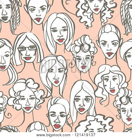 Seamless pattern of female doodle hand drawn portraits. Pink, gr