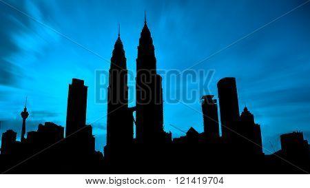 Kuala Lumpur, Malaysia Mac 5, 2016: Silhouette Of Kuala Lumpur Twin Towers