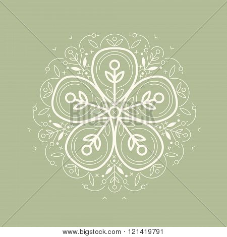 Vector template style organic design image decorative flower flax. Organic vector on green background. Modern illustration for stores of organic clothing organic textiles organic stuff for children.