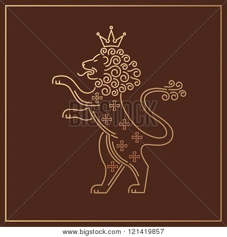 Vector template symbols of royalty lions crowns. Modern creative illustration of lion predatory lion lion on hind legs. Stamping gold foil lion for luxury packaging business goods and services.