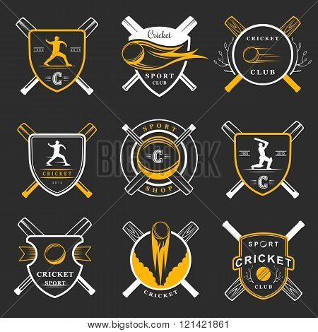 Set of vector logos and badges cricket. Collection of vintage signs symbols and emblems sports game of cricket on a white isolated background. Set of cricket team emblem design elements