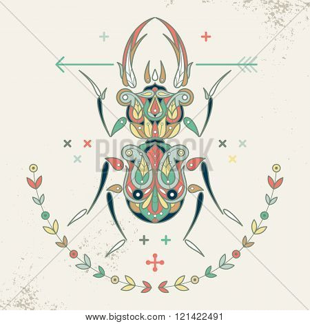 Decorative composition beetle arrow wreath. Hipster insect beetle. Vector illustration beetle for print on T-shirts posters billboards banners labels stickers covers packaging. Vintage style.
