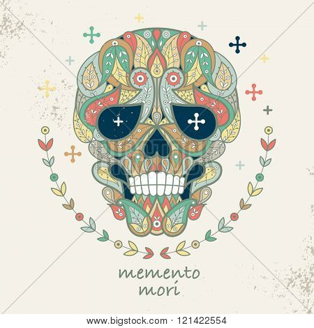 Decorative vector illustration skull. Ornamental skull and the words Memento Mori. Figure skull to create posters stickers printing on T-shirts. Hipster skull. Motives of Turkish cucumber. Vintage.