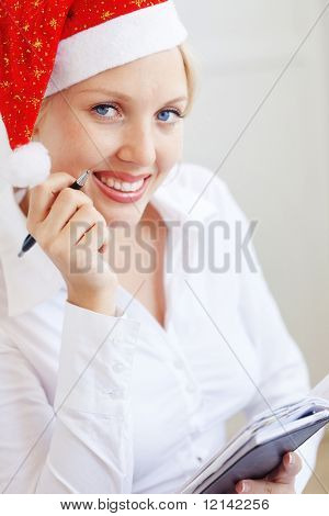 Business Santa helper working in office