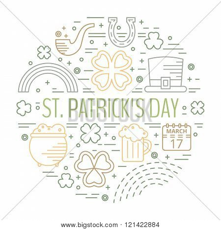 St. Patricks day colorful line icons set.
