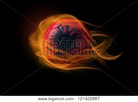 Soccer Ball With The National Flag Of Albania, Making A Flame.