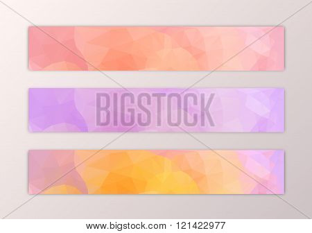 Website banner template set with abstract triangle polygon background in pink yelow