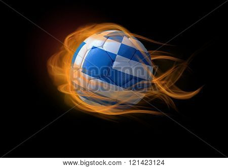 Soccer Ball With The National Flag Of Greece, Making A Flame.