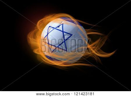 Soccer Ball With The National Flag Of Israel, Making A Flame.