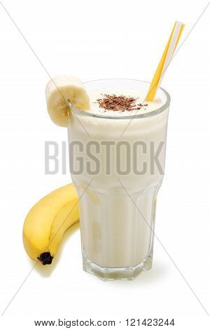 banana chocolate smoothie isolated