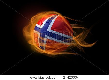 Soccer Ball With The National Flag Of Norway, Making A Flame.