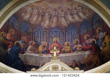 ZAGREB, CROATIA - SEPTEMBER 14: Last supper, fresco in the Basilica of the Sacred Heart of Jesus in Zagreb, Croatia on September 14, 2015.