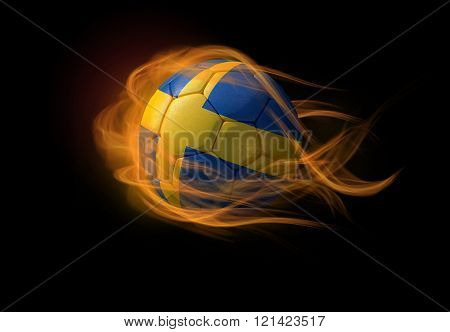 Soccer Ball With The National Flag Of Sweden, Making A Flame.