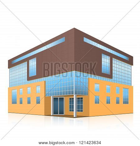 Office Building With An Entrance And Reflection