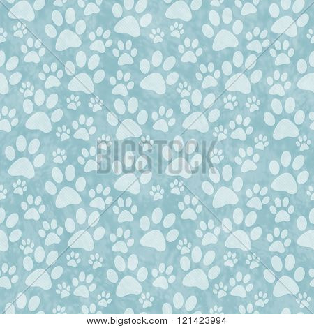 Blue Doggy Paw Print Tile Pattern Repeat Background that is seamless and repeats