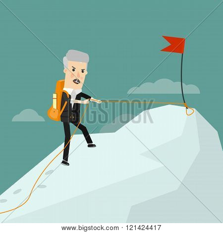 Successful experienced businessman. It comes to success. Business concept cartoon illustration