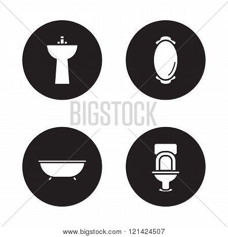 Bathroom black icons set
