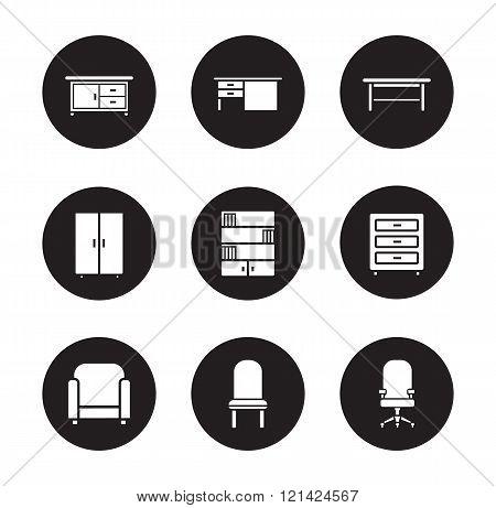 Furniture black icons set
