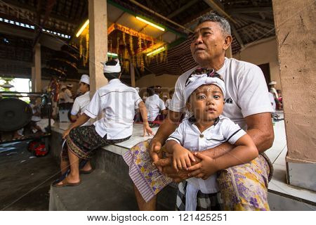 UBUD, BALI - MAR 8, 2016: Unidentified child during the celebration before Nyepi - Balinese Day of Silence. Day Nyepi is also celebrated as New Year - according Balinese calendar now came 1938 year.