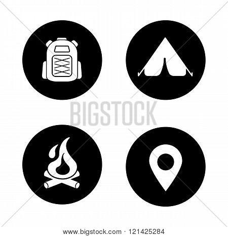 Camping black icons set