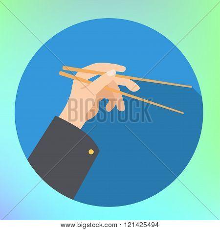 hand holding chopsticks flat vector