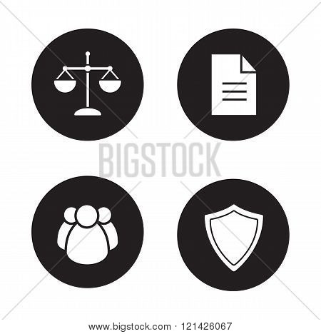 Jurisprudence and law black icons set