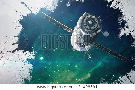 Water splashes at deep space background. Artistic design for cards and posters. Elements of this ima