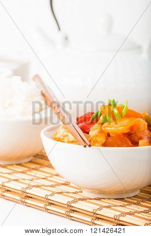Sweet And Sour Chicken Closeup Portrait