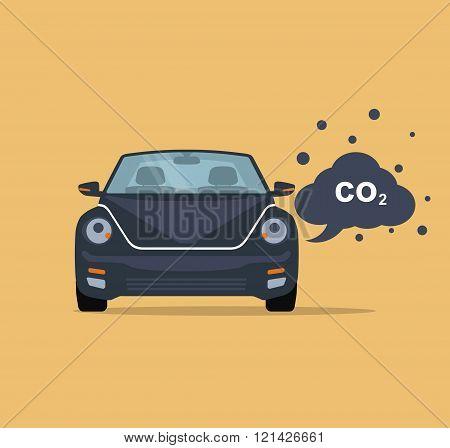 Car emits carbon dioxide.