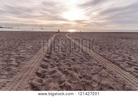 Wheel Tracks in the Sand