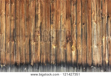 Background of flat weathered wooden lumber wall.