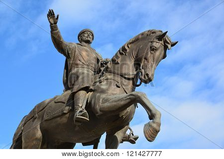 Tver, Russia - February 27. 2016. A monument to the founder of the city of Prince Mikhail Yaroslavich Tverskoy