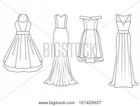 Set of Fashion Flat templates Sketches - Woman dresses - short and medium length