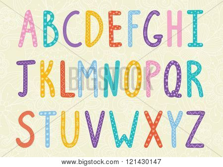 Funny long letters alphabet