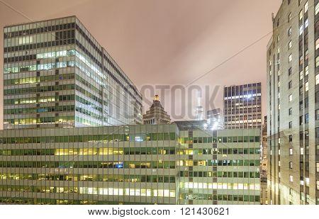 New York Offices At Night, Manhattan, Usa