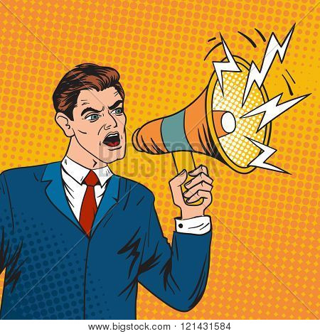 Pop art boss business leader and megaphone vector illustration. Pop Art style business man talking in megaphone. Leader, boss, business situation, sale vector. Leadership, command work