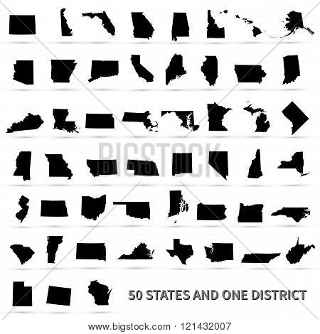 United States of America 50 states and 1 federal district. US states map.
